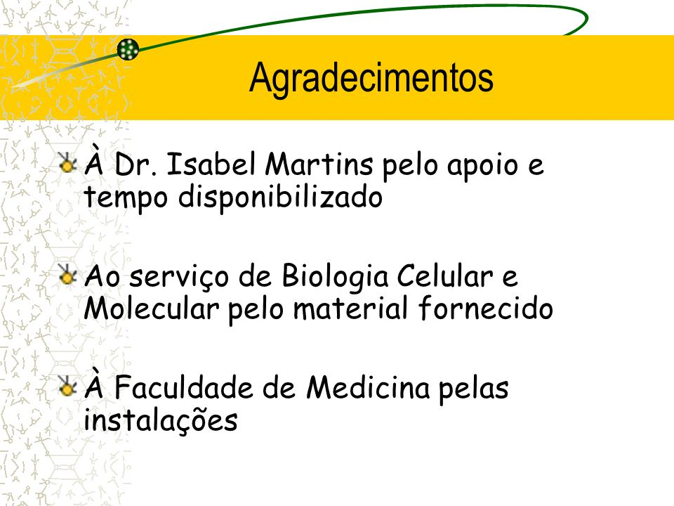 Agradecimentos À Dr. Isabel Martins pelo apoio e tempo disponibilizado