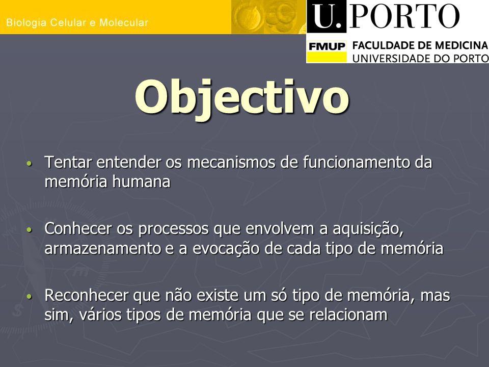 Objectivo Tentar entender os mecanismos de funcionamento da memória humana.