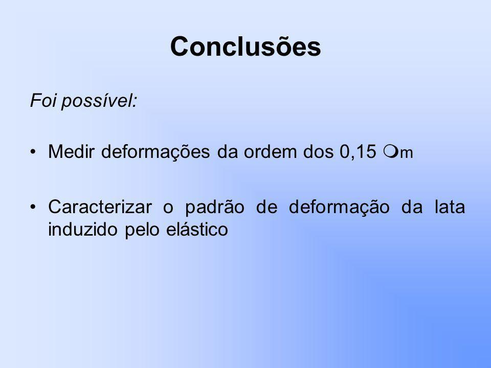 Conclusões Foi possível: Medir deformações da ordem dos 0,15 m