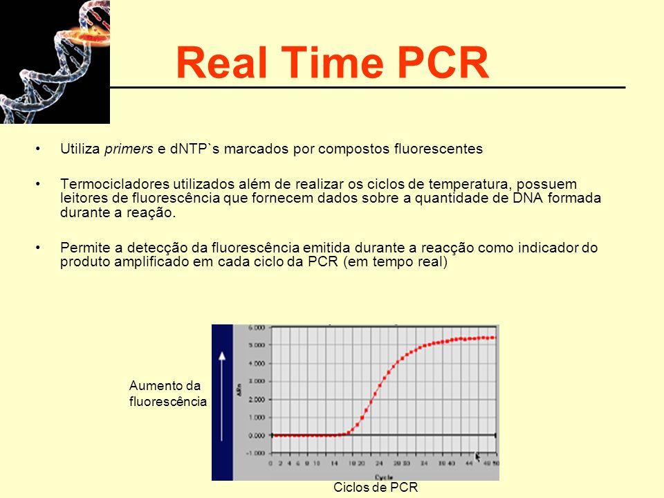 Real Time PCR Utiliza primers e dNTP`s marcados por compostos fluorescentes.