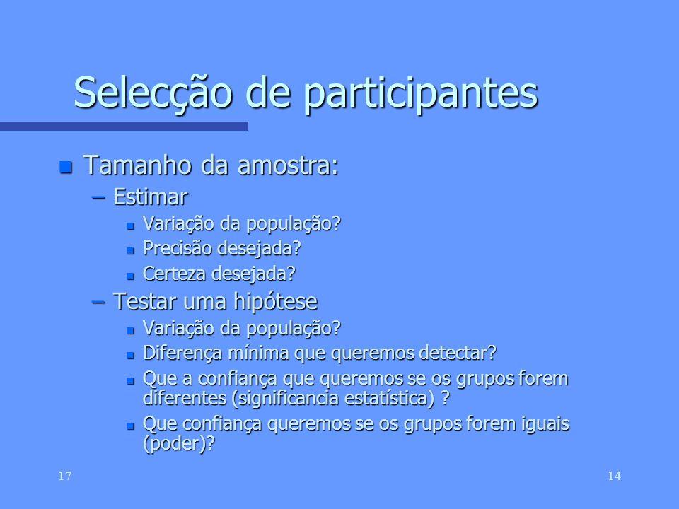 Selecção de participantes