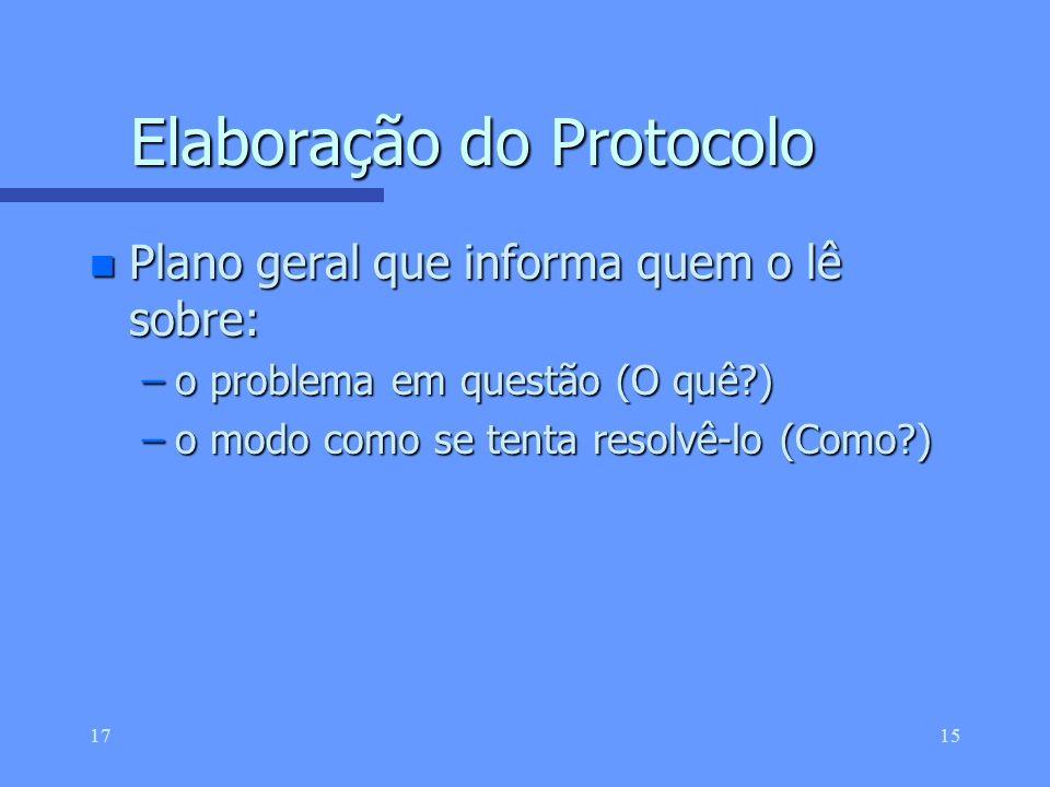 Elaboração do Protocolo