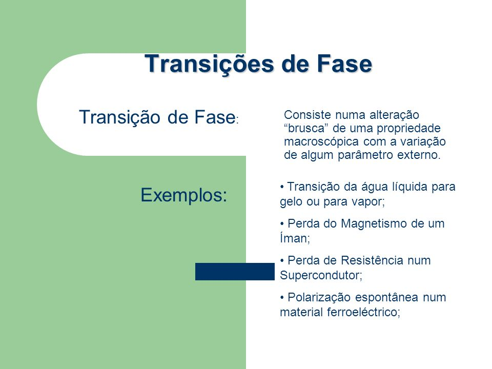 Transições de Fase Transição de Fase: Exemplos: