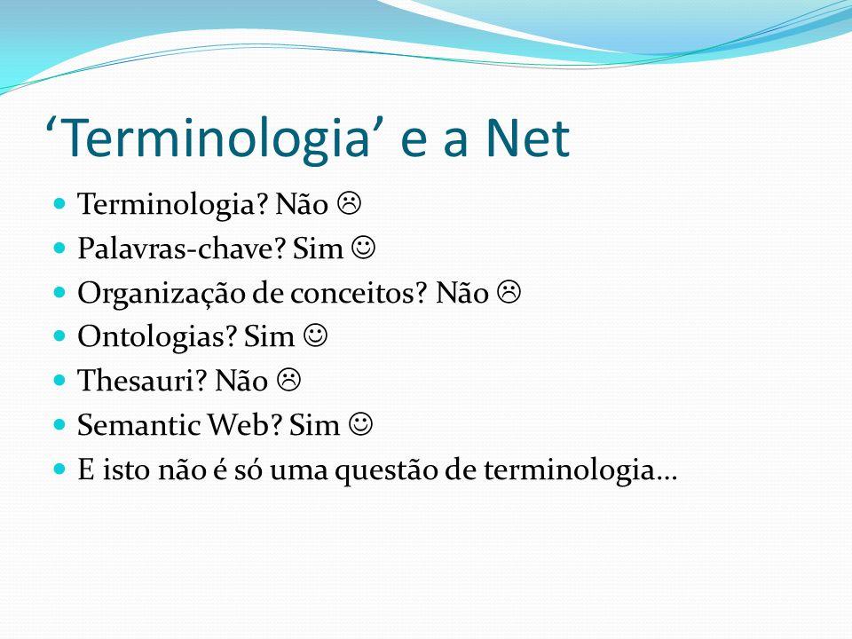 'Terminologia' e a Net Terminologia Não  Palavras-chave Sim 