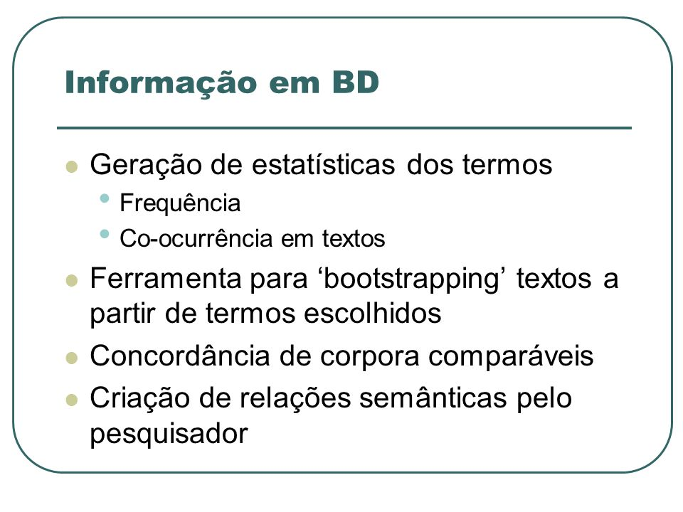 Informação em BD Geração de estatísticas dos termos
