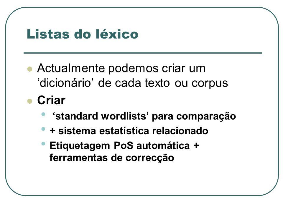 Listas do léxico Actualmente podemos criar um 'dicionário' de cada texto ou corpus. Criar. 'standard wordlists' para comparação.