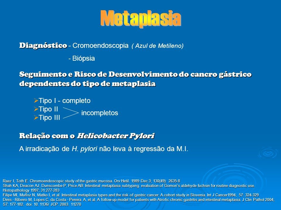 Metaplasia Diagnóstico - Cromoendoscopia ( Azul de Metileno)