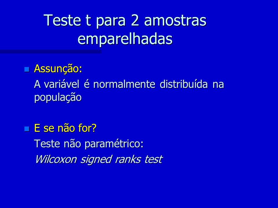 Teste t para 2 amostras emparelhadas