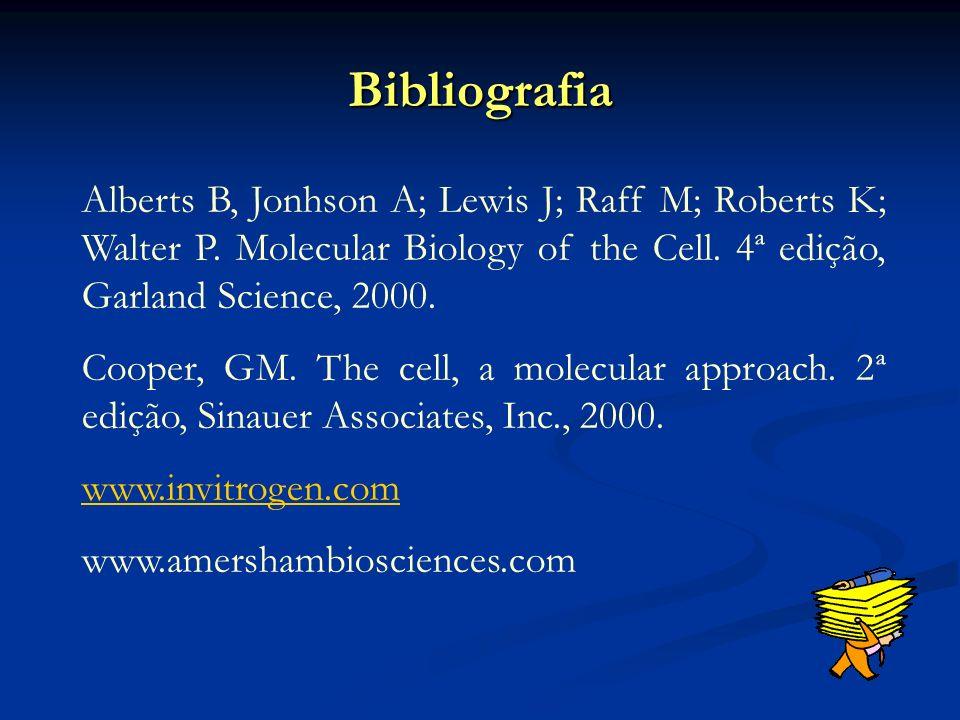 Bibliografia Alberts B, Jonhson A; Lewis J; Raff M; Roberts K; Walter P. Molecular Biology of the Cell. 4ª edição, Garland Science, 2000.