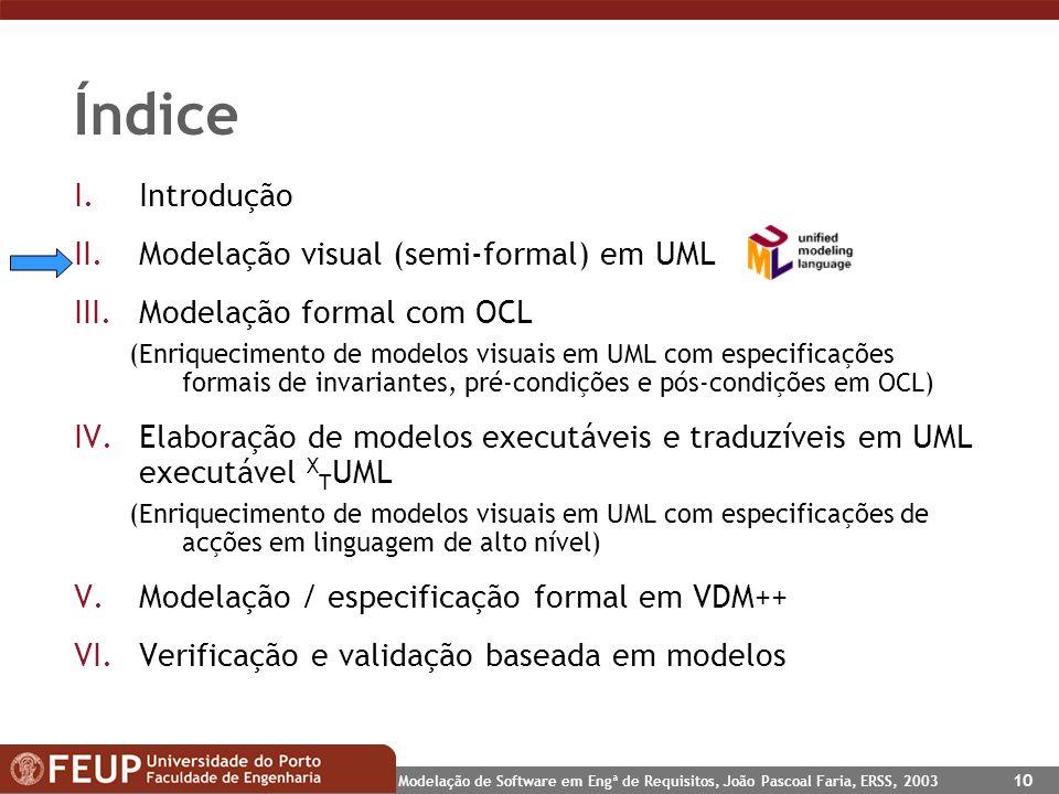 Índice Introdução Modelação visual (semi-formal) em UML