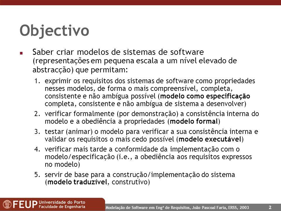 Objectivo Saber criar modelos de sistemas de software (representações em pequena escala a um nível elevado de abstracção) que permitam: