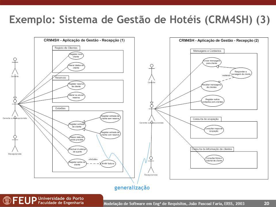 Exemplo: Sistema de Gestão de Hotéis (CRM4SH) (3)