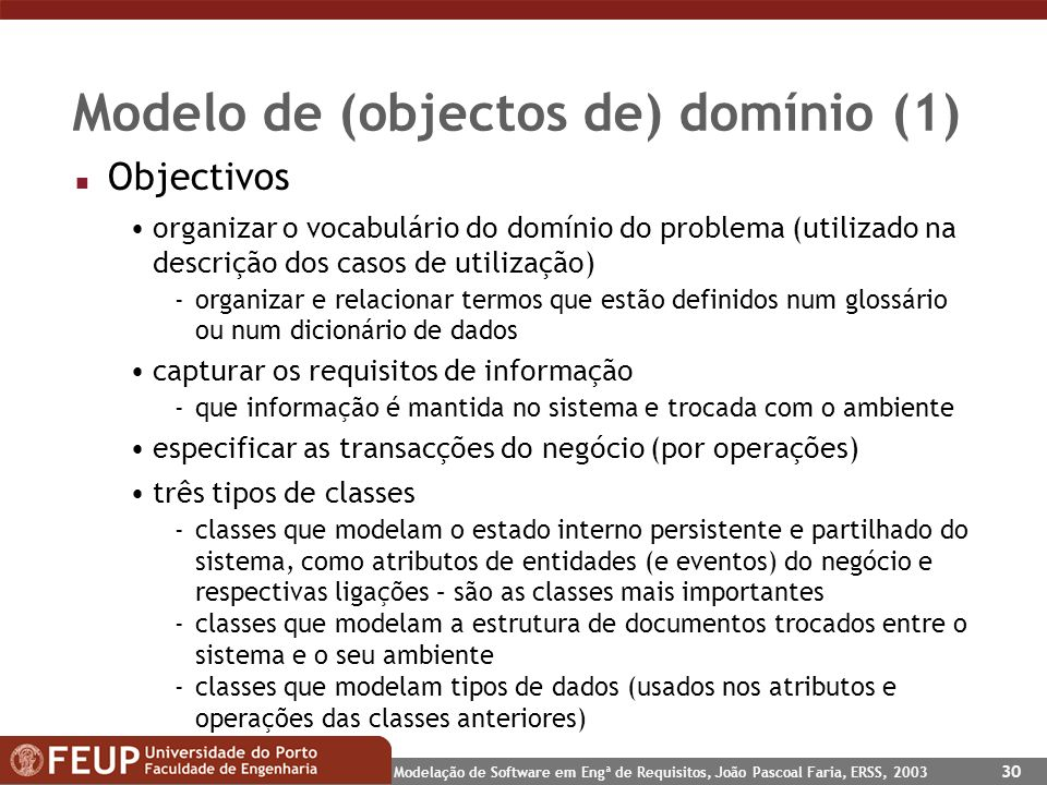 Modelo de (objectos de) domínio (1)