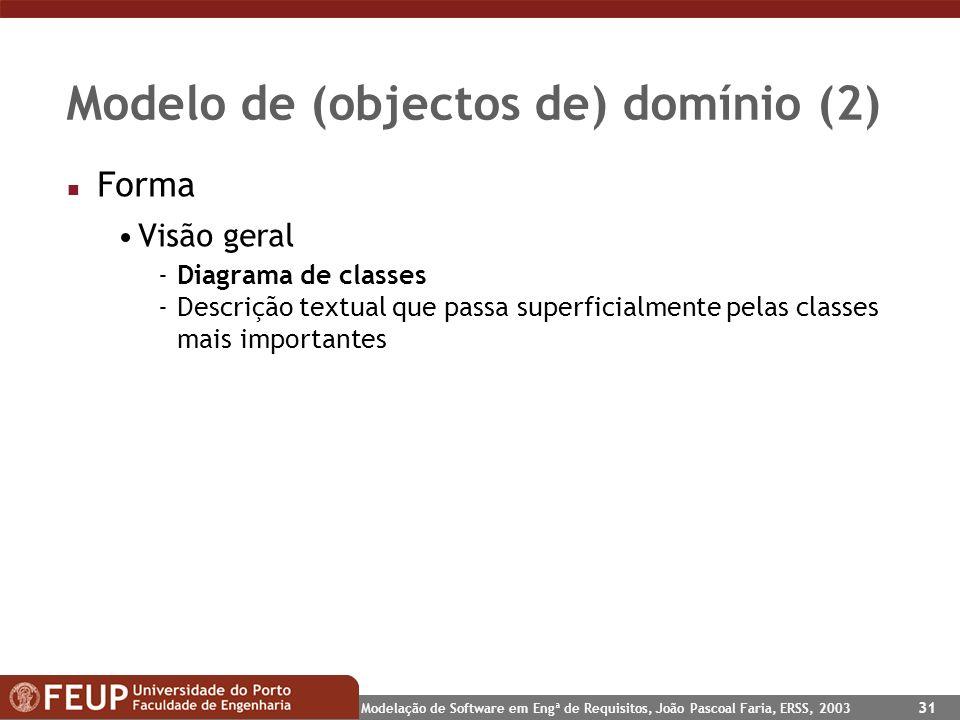Modelo de (objectos de) domínio (2)