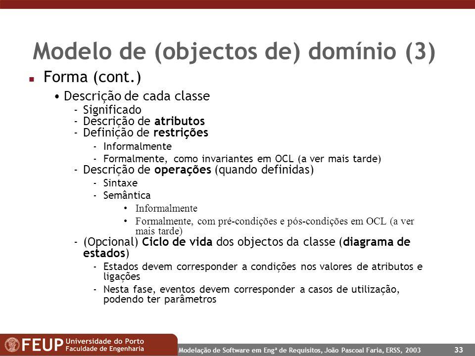 Modelo de (objectos de) domínio (3)