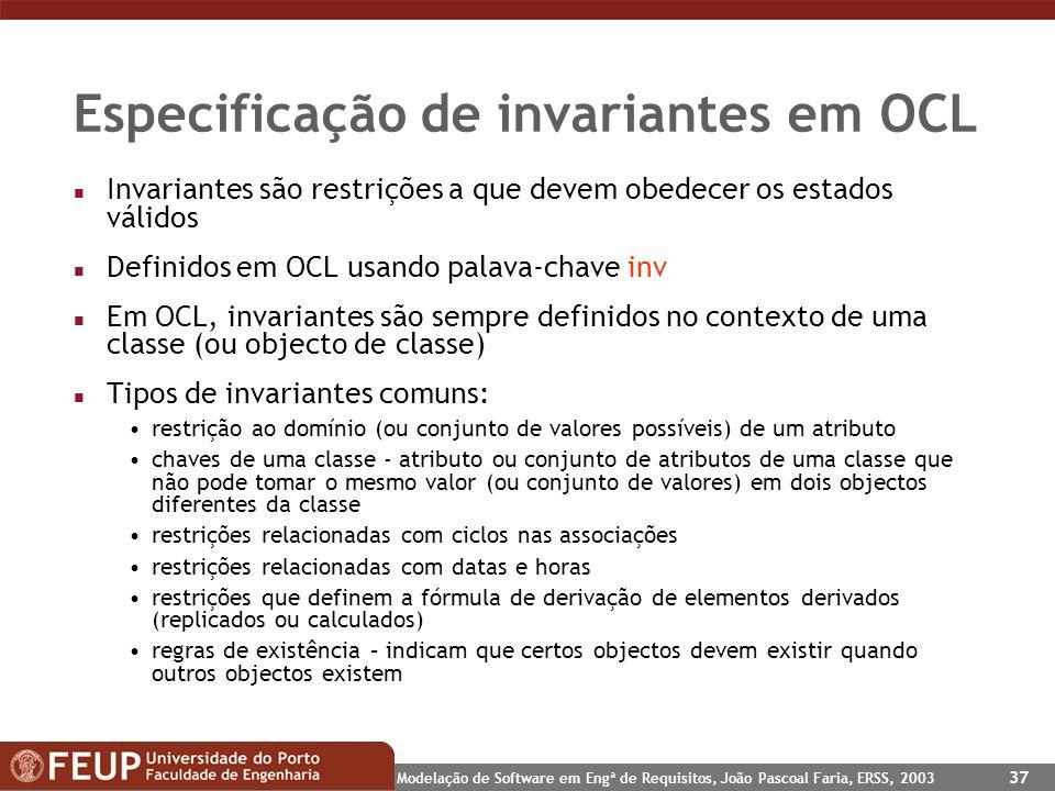Especificação de invariantes em OCL