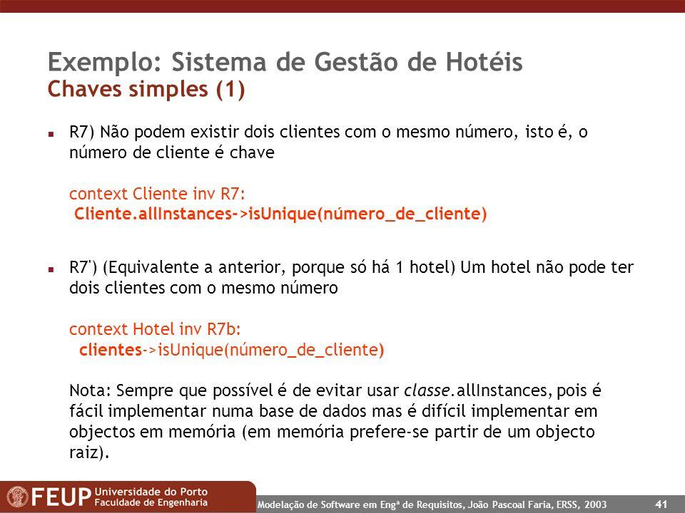 Exemplo: Sistema de Gestão de Hotéis Chaves simples (1)
