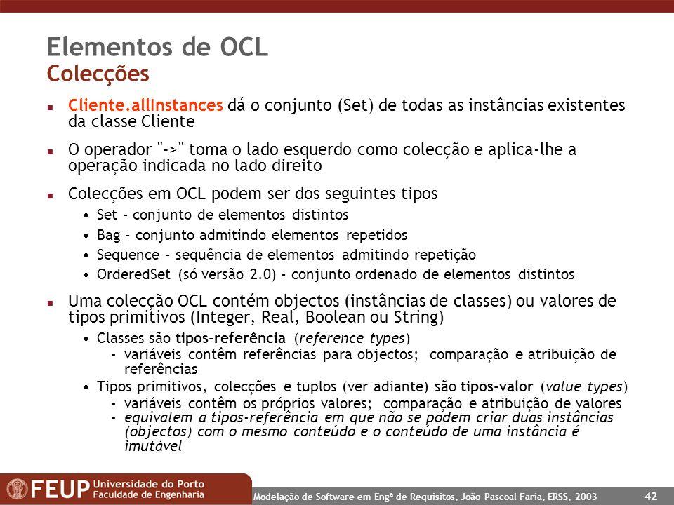 Elementos de OCL Colecções