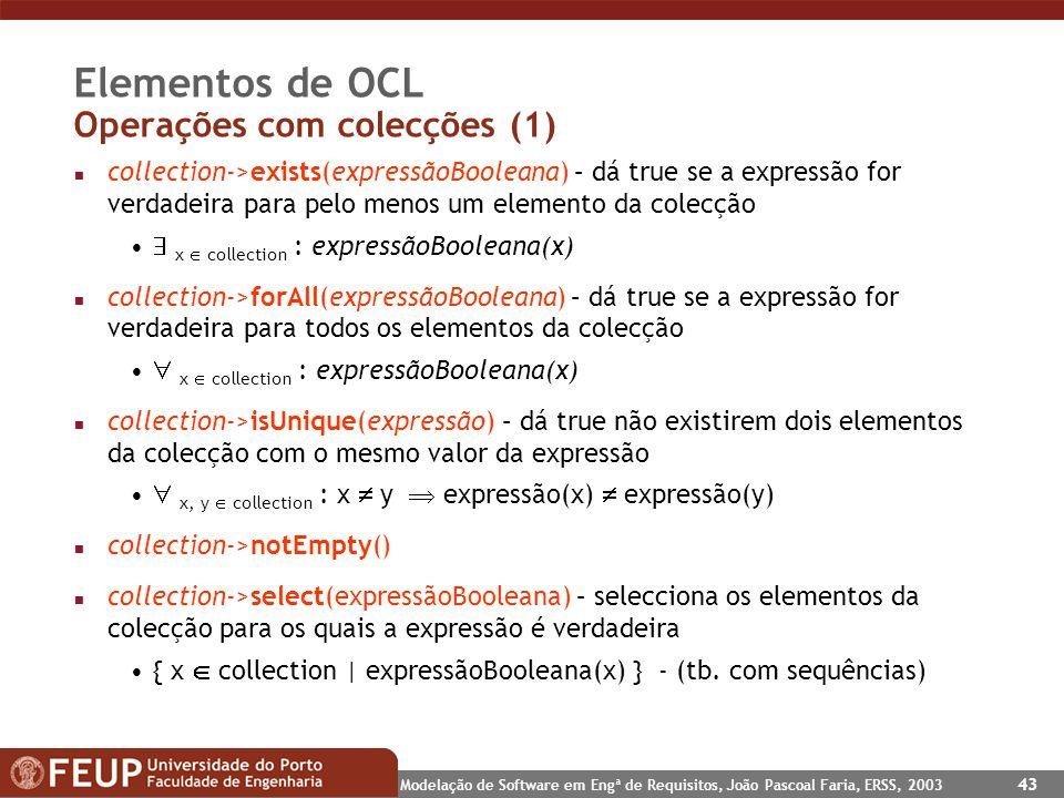 Elementos de OCL Operações com colecções (1)