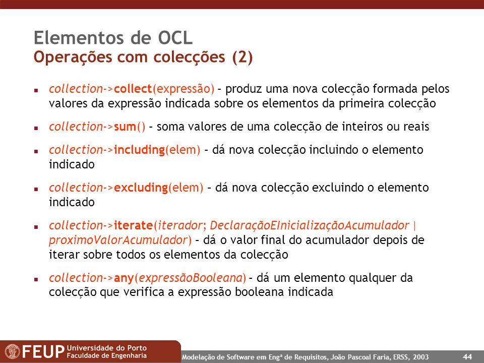 Elementos de OCL Operações com colecções (2)