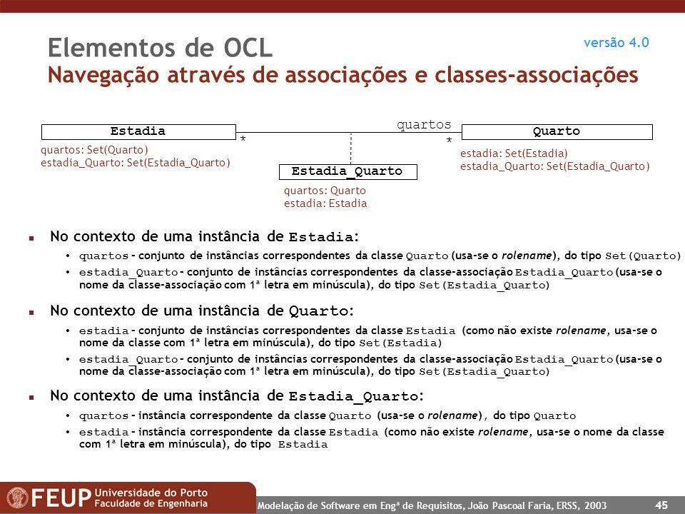 Elementos de OCL Navegação através de associações e classes-associações