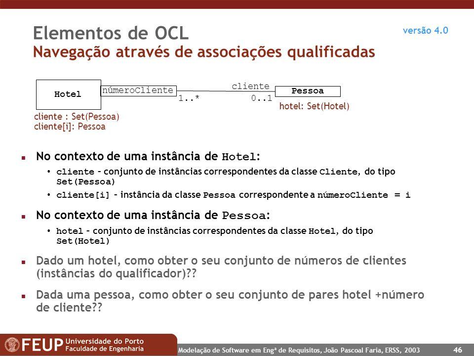 Elementos de OCL Navegação através de associações qualificadas