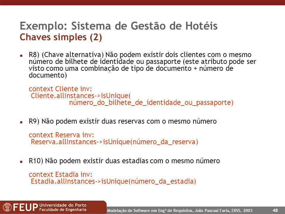 Exemplo: Sistema de Gestão de Hotéis Chaves simples (2)