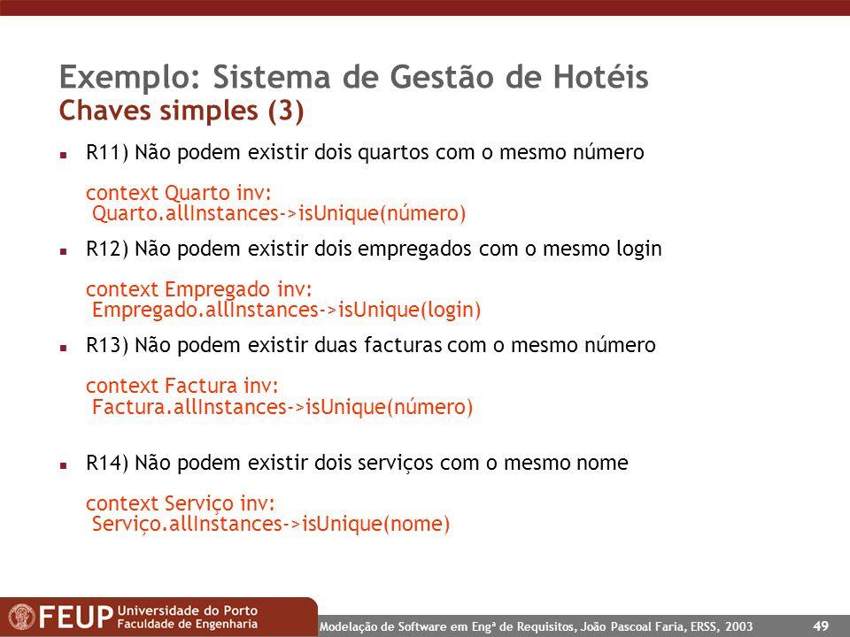Exemplo: Sistema de Gestão de Hotéis Chaves simples (3)