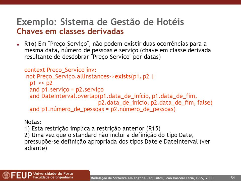 Exemplo: Sistema de Gestão de Hotéis Chaves em classes derivadas