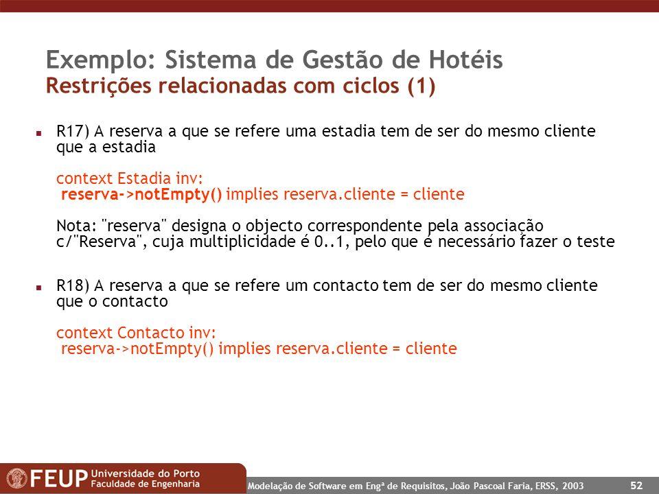 Exemplo: Sistema de Gestão de Hotéis Restrições relacionadas com ciclos (1)