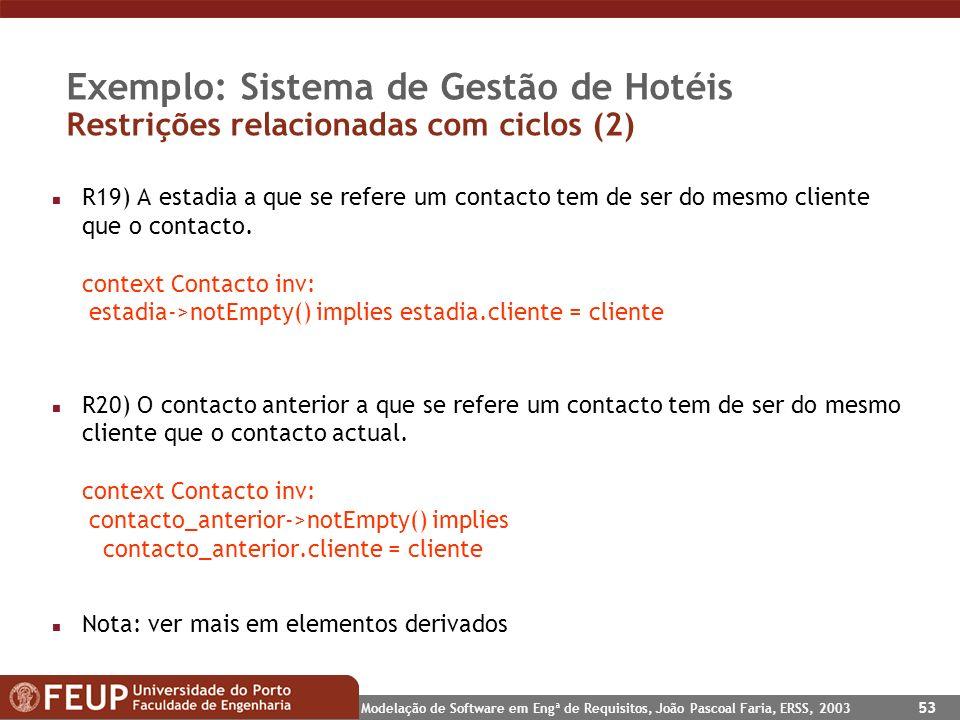 Exemplo: Sistema de Gestão de Hotéis Restrições relacionadas com ciclos (2)