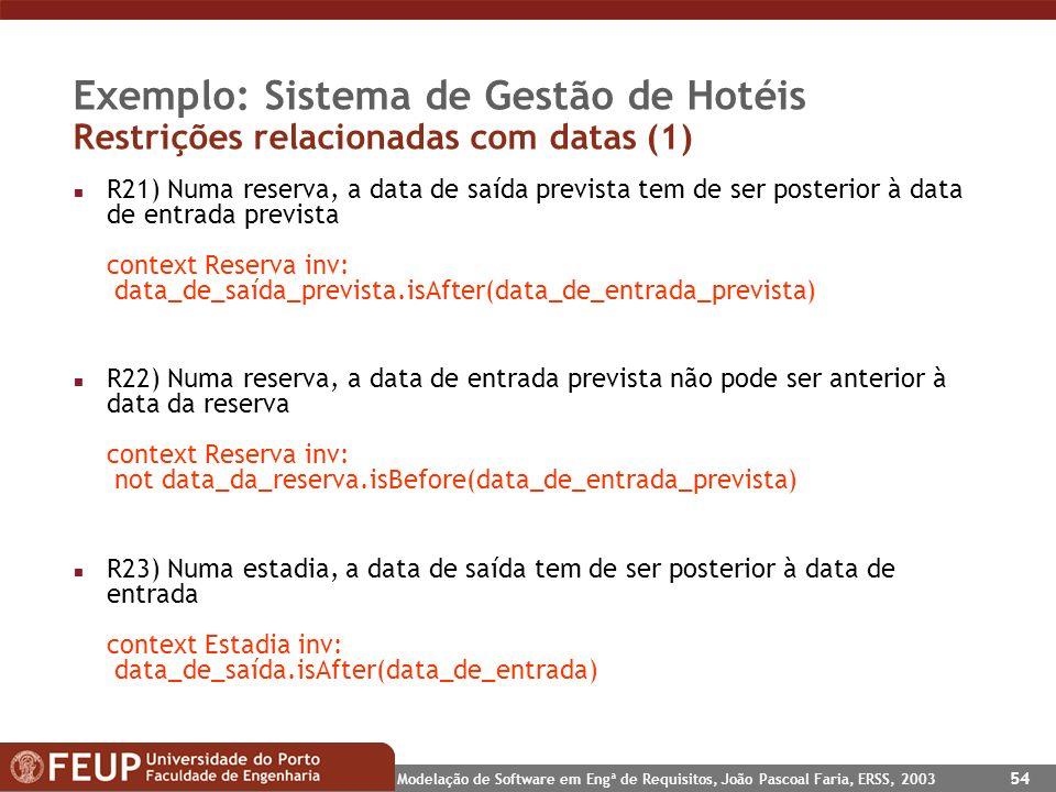 Exemplo: Sistema de Gestão de Hotéis Restrições relacionadas com datas (1)