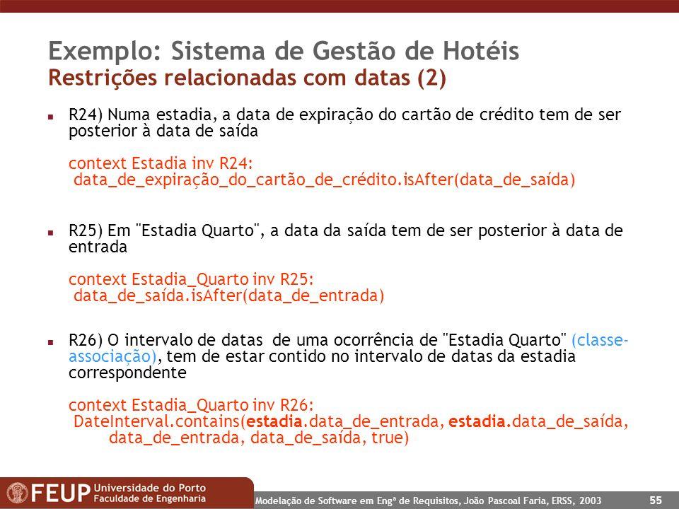 Exemplo: Sistema de Gestão de Hotéis Restrições relacionadas com datas (2)