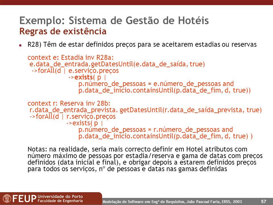 Exemplo: Sistema de Gestão de Hotéis Regras de existência