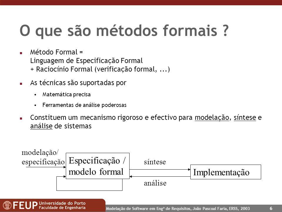 O que são métodos formais