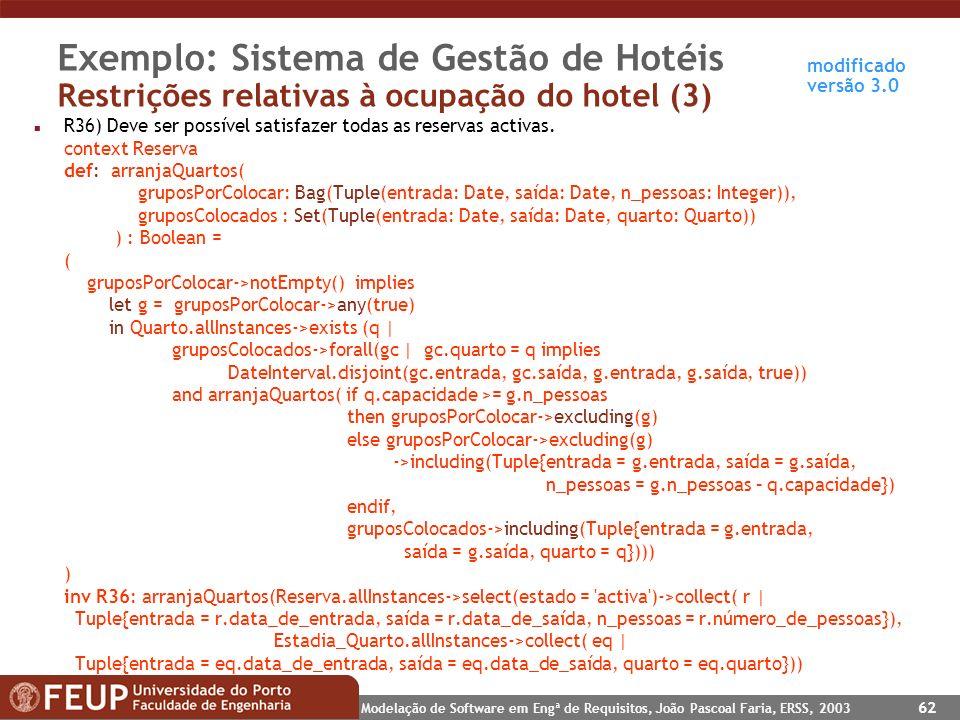Exemplo: Sistema de Gestão de Hotéis Restrições relativas à ocupação do hotel (3)