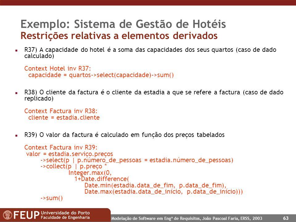 Exemplo: Sistema de Gestão de Hotéis Restrições relativas a elementos derivados