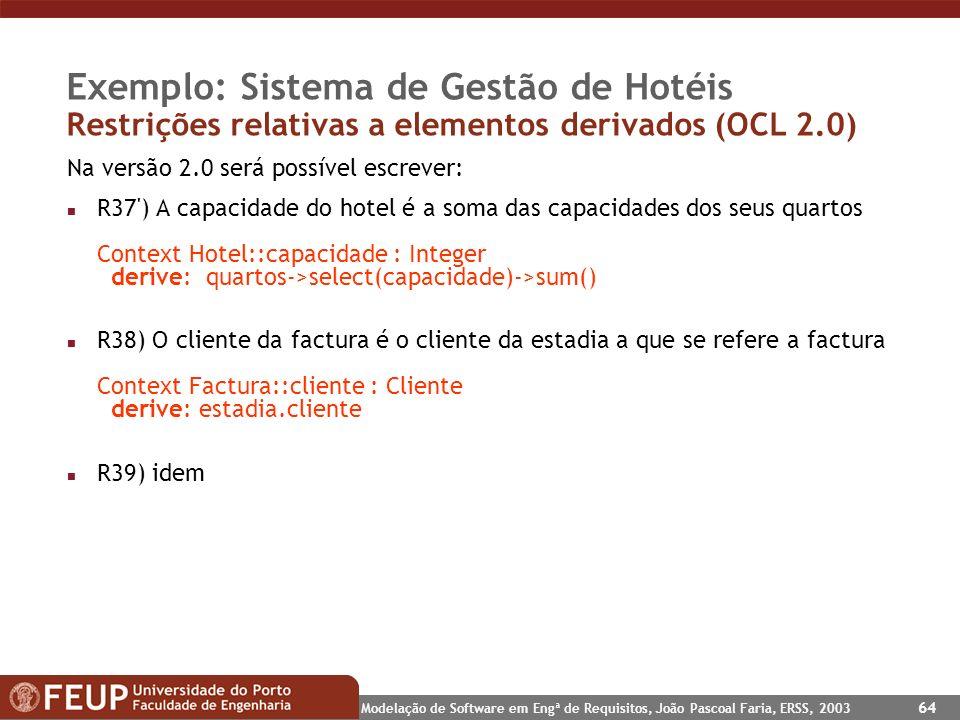 Exemplo: Sistema de Gestão de Hotéis Restrições relativas a elementos derivados (OCL 2.0)