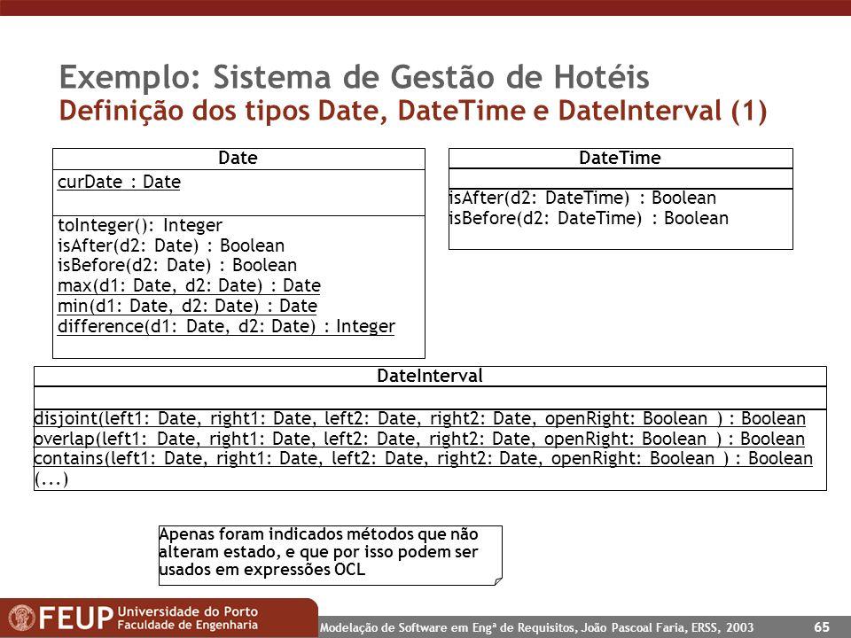 Exemplo: Sistema de Gestão de Hotéis Definição dos tipos Date, DateTime e DateInterval (1)