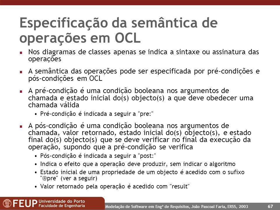 Especificação da semântica de operações em OCL