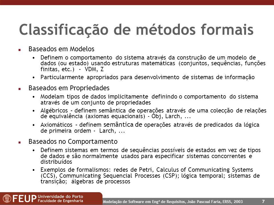 Classificação de métodos formais