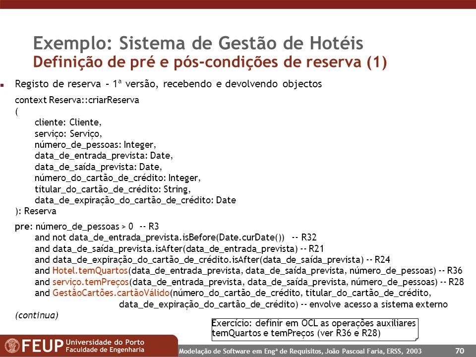 Exemplo: Sistema de Gestão de Hotéis Definição de pré e pós-condições de reserva (1)