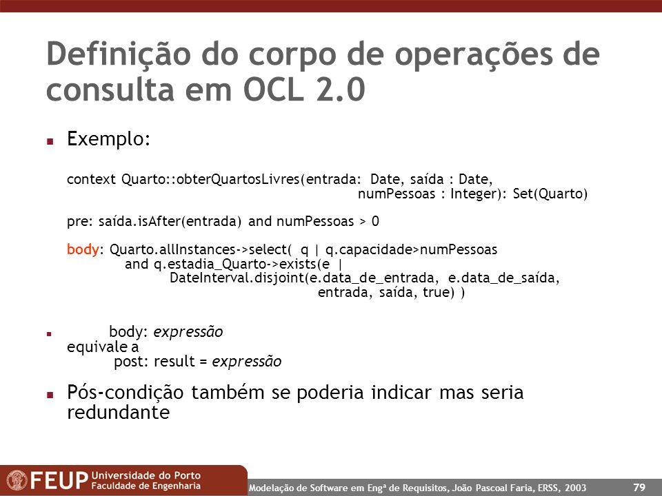 Definição do corpo de operações de consulta em OCL 2.0