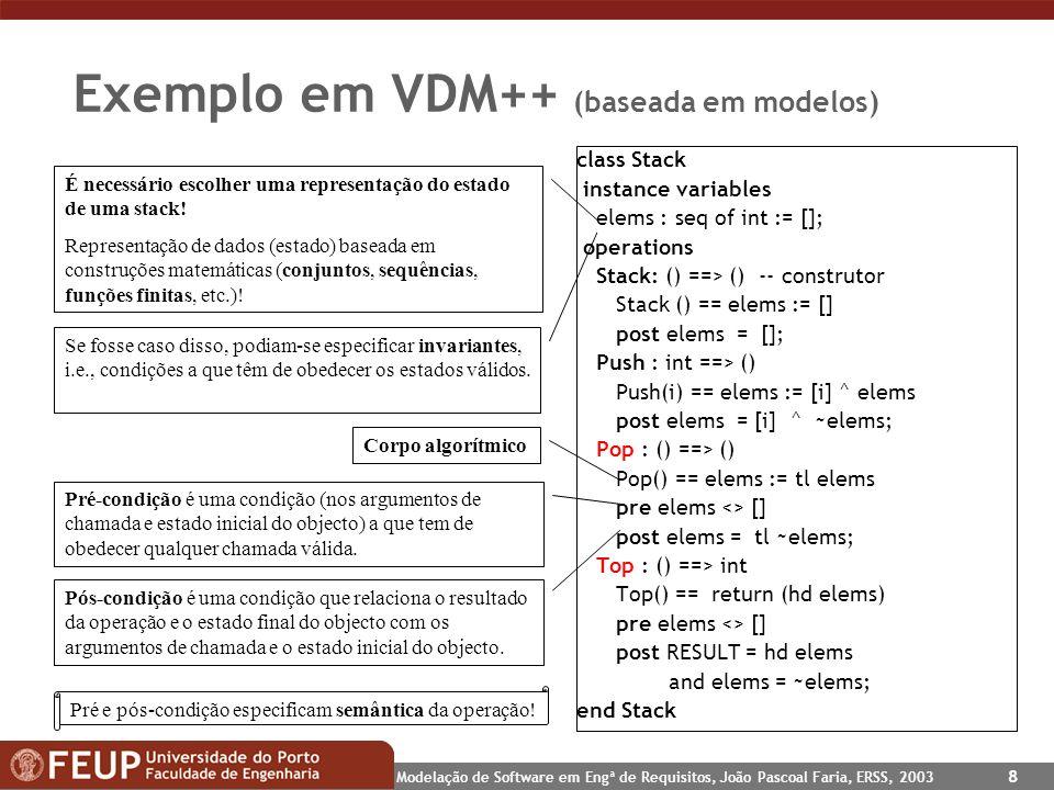 Exemplo em VDM++ (baseada em modelos)