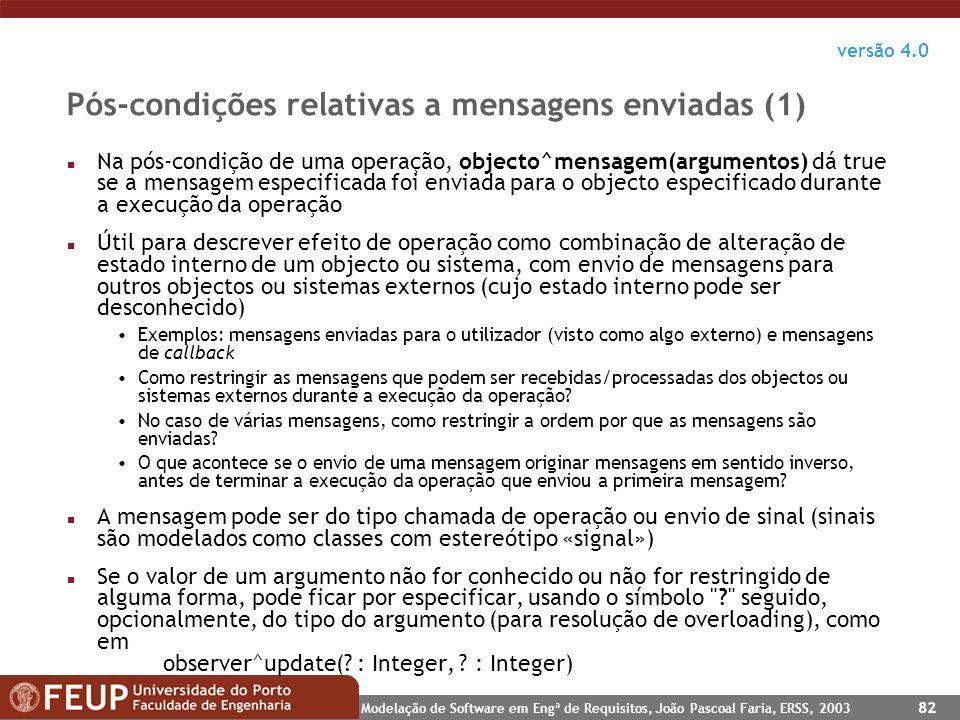 Pós-condições relativas a mensagens enviadas (1)