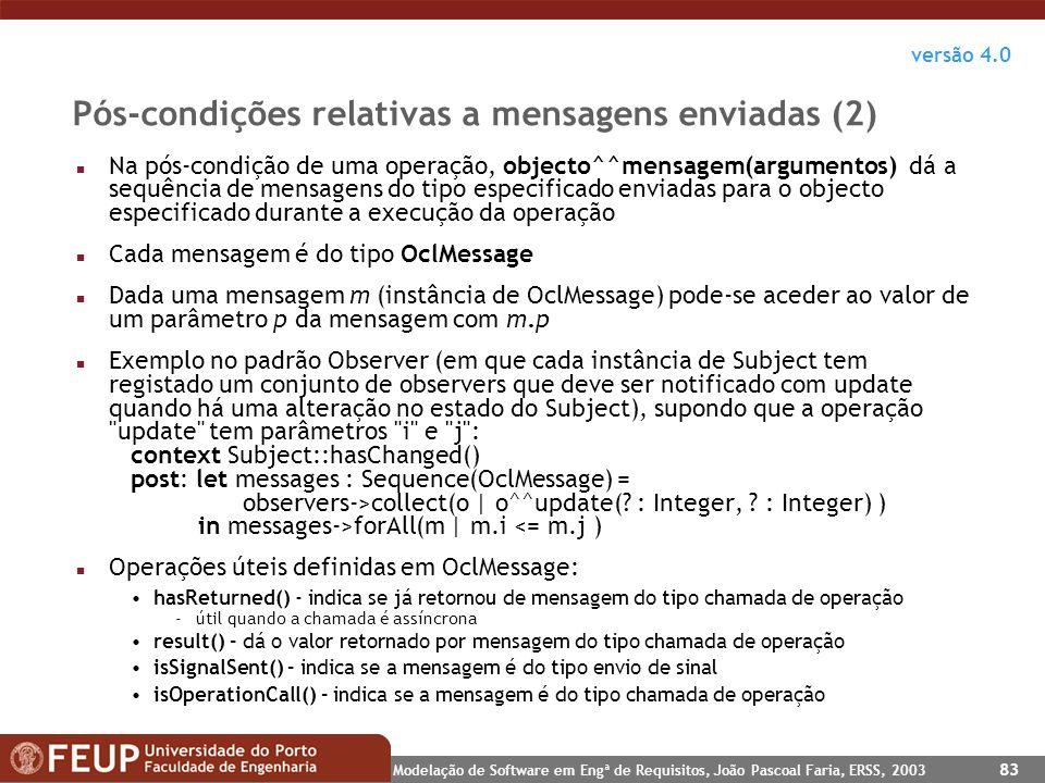 Pós-condições relativas a mensagens enviadas (2)