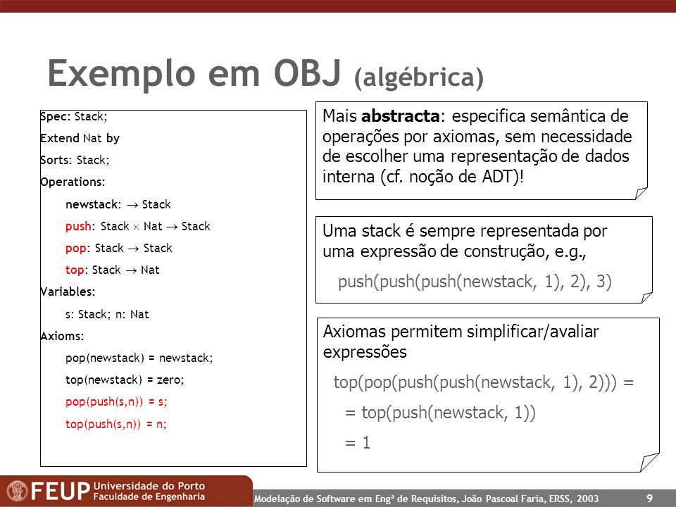 Exemplo em OBJ (algébrica)