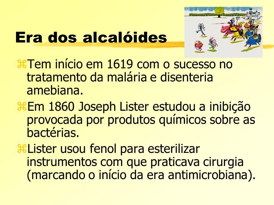 Era dos alcalóides Tem início em 1619 com o sucesso no tratamento da malária e disenteria amebiana.