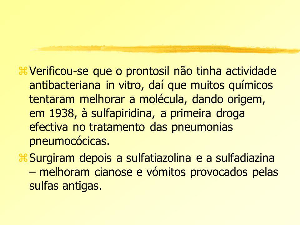 Verificou-se que o prontosil não tinha actividade antibacteriana in vitro, daí que muitos químicos tentaram melhorar a molécula, dando origem, em 1938, à sulfapiridina, a primeira droga efectiva no tratamento das pneumonias pneumocócicas.