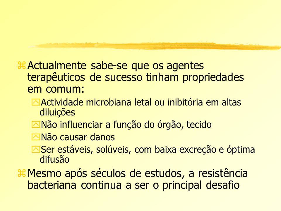Actualmente sabe-se que os agentes terapêuticos de sucesso tinham propriedades em comum: